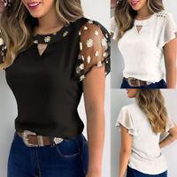 ❤️Womens Ruffled Short Sleeve T-Shirt Tops Ladies Summer Casual Loose Blouse Tee