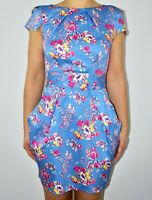 New Closet Floral Blue Aline Dress Summer Holiday Cruise Smart Casual Size 10 AV