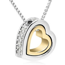 925 Sterling Silver Double Heart Pendant Necklace Gold and Silver GIFT FOR MOM