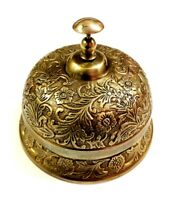 Antique Nautical Handcrafted Brass Engraved Counter Bell, Hotel Reception Bell