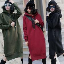 UK 8-24 Womens Casual Winter Hooded Long Tops Loose Sweatshirt Dress Kaftan Plus