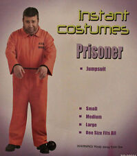 Prisoner Orange Jumpsuit Costume Set Adult Mens One Size Halloween Outfit Party