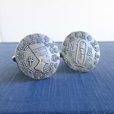 Egyptian Queen Nefertiti 1/10 oz. Coins 999 Sterling Silver Coin Cuff Links -