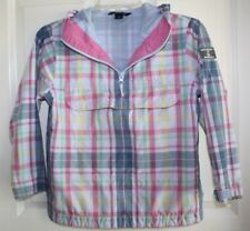 Lands End Jacket Girls 7 8 Small Pullover Hooded Spring Plaid Pinks and Blues