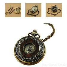 Mens Vintage Look Wood Chinese Antique Steampunk Chain Pocket Watch Gift Box