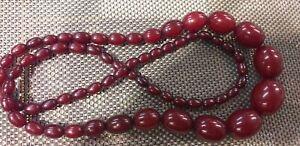 Vintage Cherry Bakelite Faturan Graduated Bead Necklace 99 grams