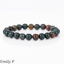 Natural Bloodstone Semi Precious Gemstone 8mm Beaded Bracelet  Elasticated