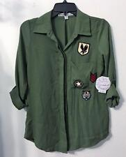 GYPSIES & MOONDUST ARMY GREEN SHIRT MILITARY PATCHES LG SLEEVE MSRP$39 Sz XS NWT