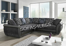 new large shannon faux leather & fabric corner sofa black grey brown beige cheap