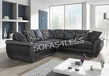 new large shannon faux leather & fabric corner sofa black grey foam seats cheap