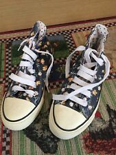 Flower Power Ankle Pumps Size 4 UK 37 EUR By Atmosphere Navy With Yellow Flowers