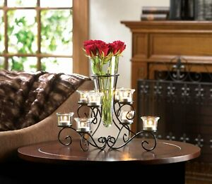 Black Glass Iron Scrollwork Candle Stand With Vase Indoor Decor