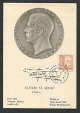 SCHWEDEN MK 1957 GUSTAV VI. KÖNIG KING ROI REI CARTE MAXIMUM CARD MC CM d7682