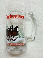 Budweiser Clydesdale Beer Mug Holiday Stein Winter Glass Collectible 1989