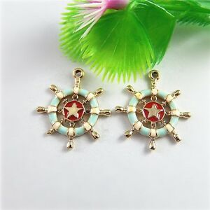 Lots 10pc Gold Blue Enamel Red Boat Anchor Alloy Pendant Charms DIY Making 51530