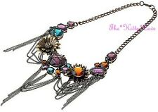 Stunning Artisan Rainbow Jewels Flower Floral Cluster Statement Chains Necklace