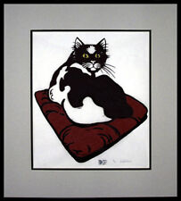 WHAT THE? CAT NATURE WOODCUT FRAMED ART HAND SIGNED AND NUMBERED WITH COA RARE