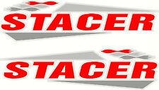 Stacer, 4 Colour, White Background Fishing Boat, Mirrored Sticker Decal Set of 2