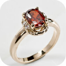 18k rose gold gp made with swarovski crystal wedding ring US 6.25 Au m 1/2 red