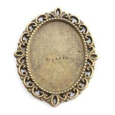 15x 143133 Wholesale Charms Oval Lace Blank Frame Antique Bronze Alloy Pendants