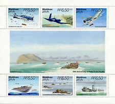 Maldives 1995 MNH WWII WW2 VJ Day Peace in Pacific 6v M/S Aviation Stamps