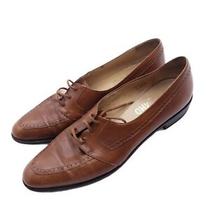 Salvatore Ferragamo VTG Brown Leather Oxford Shoes Vintage MADE IN ITALY 7AAA