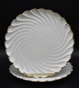 (2) Coalport Scalloped Dinner Plate White w/ Gold Trim (X404)