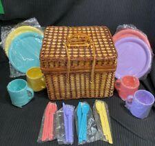 Vintage Wicker Picnic Basket -serve 4 Color Set Plate Cup Spoon Fork Knife New
