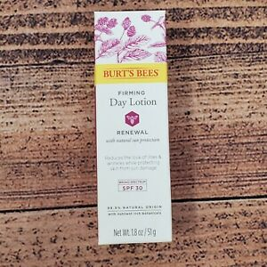 Burt's Bees Firming Day Lotion Moisturizer SPF 30 Renewal Sun Protection 1.8 Oz.