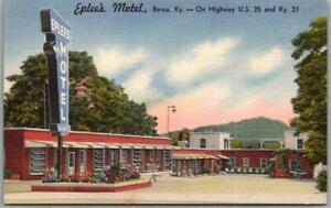 Berea, Kentucky Postcard EPLEE'S MOTEL Highway 25 Roadside Linen c1950s Unused