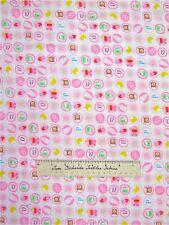 Flannel Fabric - Nursery Baby Girl Small Medallion Bear Bib Bottle - LAST 1.13Yd