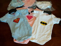 Bat baby / Super baby vest / bodysuit / romper / playsuit + hat blue pink white