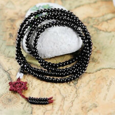 Tibetan Sandalwood Buddhist Buddha 216 Prayer Beads Mala Bracelet/Necklace Black