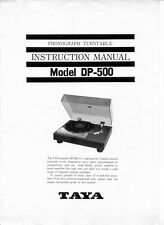Manuale d'uso giradischi Taya DP-500, lingua inglese.