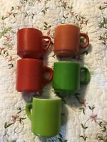 Vintage 5 Federal Milk glass Green Red Tea Cups Handled coffee mug Lot Set