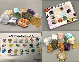 Tray Pack 12x Semi-Precious Quartz, Jade Multicoloured Healing Stones Unpolished