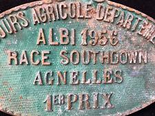 Plaque Concours Agricole Départemental Albi Tarn 1956 Agnelles 1er Prix
