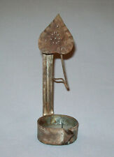 Old Antique Vtg Early 19th C 1800s Tin Betty Lamp Whale Oil Grease Heart Hanger