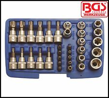 "BGS - T Star & E Socket Bit Set, Tamper & Non - 3/8"" Drive, 34 Pc Set - Pro 5021"