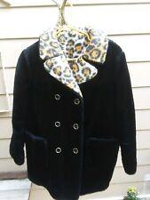 Vintage 60s womens/Jr's black coat with leopard collar faux fur size 11/12