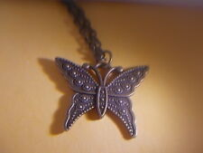 "AWSOME - Bronze Butterfly Pendant  & Necklace   "" NEW """