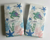Sea Turtle Starfish Guest Hand Towels Paper Napkins Summer Beach 20 pk Set of 2