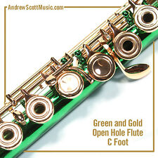 Flute - Green & Gold with Open Holes and C Footjoint - Masterpiece
