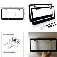NEW 2PCS BLACK STAINLESS STEEL METAL LICENSE PLATE FRAME TAG COVER SCREW CAPS