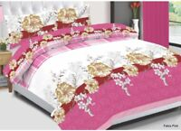 Fabia Pink Cotton Bedding Set Quilt Duvet Cover With Pillow Cases & Fitted Sheet