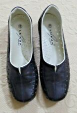 LUNAR Comfort Navy Breathable Loafer/Flat Leather Shoes - Size 5