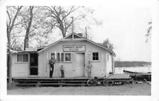 RPPC BURMAN'S RESORT Mille Lacs Lake, Minnesota Fishing Boats ca 1940s Postcard