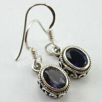 "92.5% Solid Sterling Silver Oval Iolite Dangle Earrings 1"" Fashion Gemstone"
