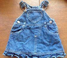 Baby Girls Arizona Jean Company 3-6 Month Denim Overall Skirt Heart Pocket