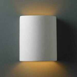"""Justice Design Group CER-9010W--BIS Ceramic 1 Light 9-1/4"""" Tall - (No cut out)"""